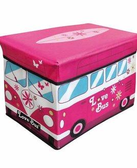 Pink and Blue Camper Van Storage Box with Lid