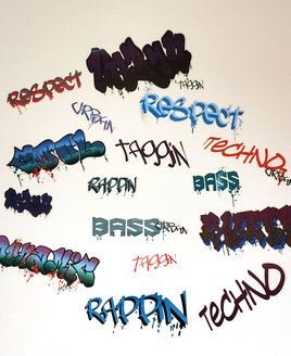 24, Graffiti inspired, peel and stick, bedroom wall stickers.