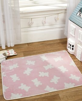 Pink Teddy Bear Lightweight,  Nursery  Rug 100 x 70 cm