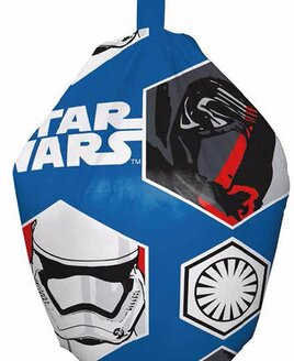 Small, Star Wars Bean Bag. Blue material with white lettering, patterned with Stormtroopers and Darth Vader.