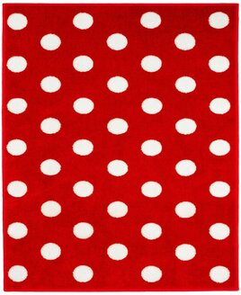 Red, rectangular rug patterned with large white spots.