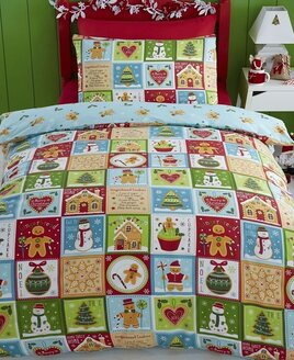 Kids Christmas Bedding, Jolly Gingerbread. Patchwork style with all things Christmassy
