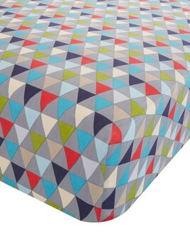 Single Fitted Sheet with Geometric, White, Blue and Red Triangles on a Grey Background