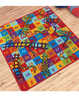 large, multicoloured snakes and ladders themed play mat