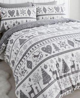 Noel, Christmas Themed Single Bedding - Grey