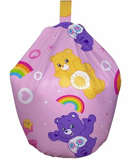 Pink, Care Bear Bean Bag. Yellow, Pink and Purple Care Bears, Rainbows and Hearts