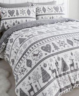 Noel, Christmas Themed King Size Bedding - Grey