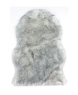 Grey, with white tips, sheepskin shaped rug.