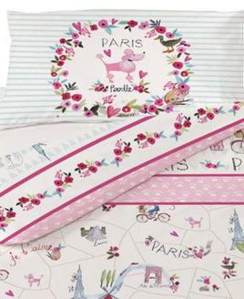 White, Paris Inspired Bedding. Patterned with Iconic Parisan Landmarks - Arc D'Triumph, Eiffel Tower etc.