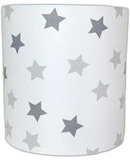 Multi Grey and White Stars, Medium Fabric Light Shade