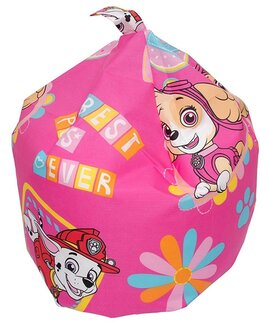 Small, Pink Beanbag with some of the Paw Patrol friends.
