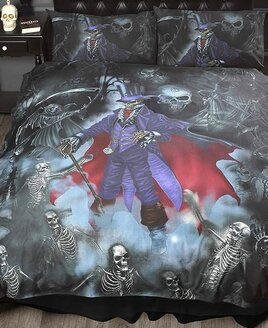 Gothic Style King Size Duvet with skulls, vampire bats and skeletons on a grey, blue and red background.