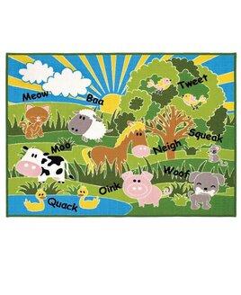 Farm Animals Rug 100 x 130 cm