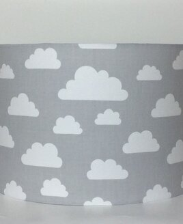 White Clouds, Grey Large Fabric Light Shade