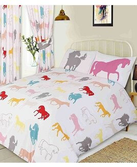 White, Children's Bedding with a pattern of colourful horses prancing and swishing their tails.