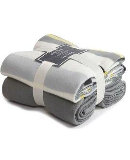 Fleece Blankets, Twin Pack - Grey, Cream, Stripes
