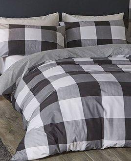 Black, white & grey, large check, king size duvet set. Thin, black and white striped reverse.