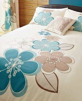 TWO PACK - Candice, Teal Floral King Size Duvet Covers