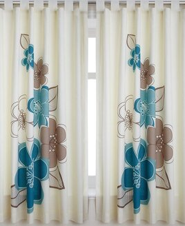 Candice, Teal Floral Print Curtains 72s