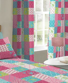 Jessica, Pink Patchwork Eyelet Curtains 72s