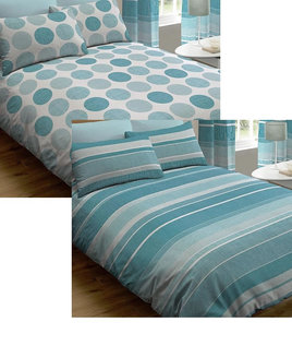 TWO PACK - 1 Blue Spots, 1 Stripes King Size Duvet Covers