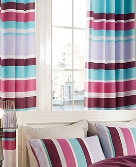Bright, blue, grey, cerise and purple striped curtains