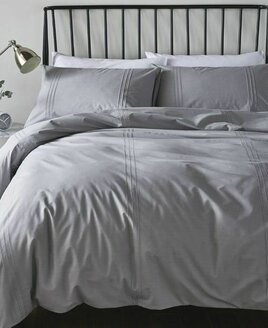 Pale Grey Single Duvet with Pintuck Feature.