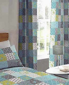 Blue and White Patchwork Patterned Curtains