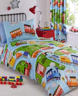 Kids Bedding Set. Trains and train tracks running through the countryside on a sky blue background