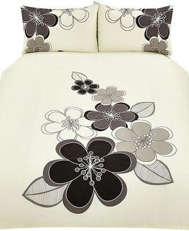 Candice, Black Floral King Size Bedding - Twin Pack
