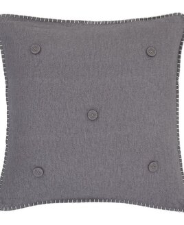 Grey, Brushed Cotton Blanket Stitch Cushion Cover 45 x 45 cm