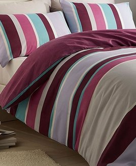 Purple, Turquoise, Pink, Lilac & Grey Striped Duvet Cover. The reverse has a textured purple pattern.