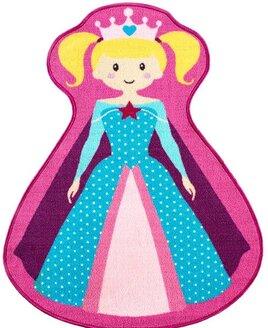 Girls pink and blue novelty bedroom rug - Princess shaped.